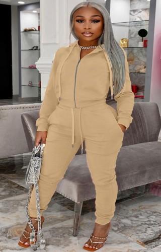 Winter Plus Size Khaki Zipper Hoodies and Pants 2 Piece Tracksuit