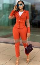 Herbst Eleganter Patch Office Orange Blazer und Hosenanzug