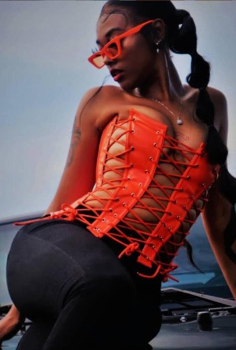 Autumn Orange Leather Lace-Up Sexy Strapless Party Top