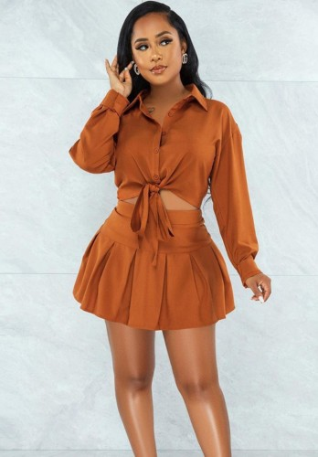 Autumn Casual Brown Knotted Blouse and Pleated Skirt Set