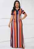 Summer Multi Color Stripes Short Sleeve Long Maxi Dress