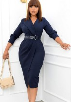 Vestido de trabajo a media pierna con cuello en V azul liso liso de otoño