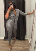 Winter Grau Leder Fit Bluse und Hose mit hoher Taille 2-Teiler-Anzug