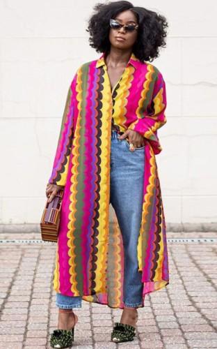 Vestido largo de blusa africana con estampado multicolor de otoño