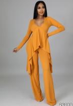 Autumn Orange Knit V-Neck Irregular Top and Pants Elegant 2 Piece Set