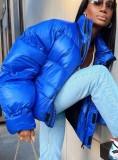 Winter Blue Zipper Turtleneck Long Sleeve Down Coat