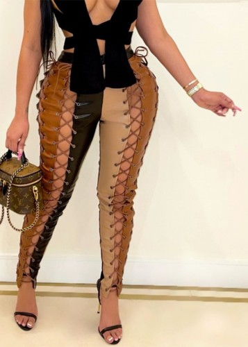 Winter Contrast Color Lace-Up High Waist Party Leather Pants