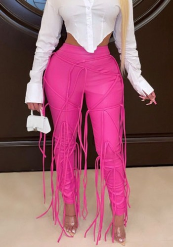 Winter Occassional Hot Pink Leather Fringe High Waist Trousers