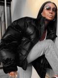 Winter Black Zipper Turtleneck Long Sleeve Down Coat