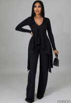 Autumn Black Knit V-Neck Irregular Top and Pants Elegant 2 Piece Set