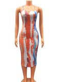 Summer Party Sexy Multi Color Print Cross Back Strap Long Bodycon Dress