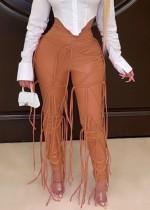 Kış Arası Kahverengi Deri Püsküllü Yüksek Bel Pantolon