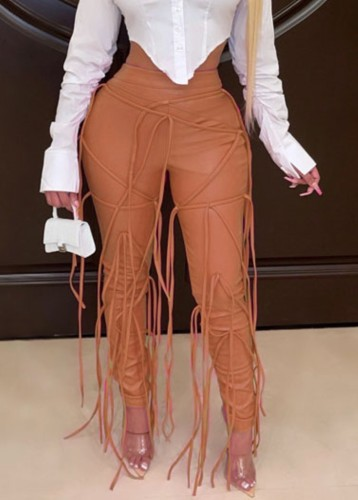 Winter Occassional Brown Leather Fringe High Waist Trousers