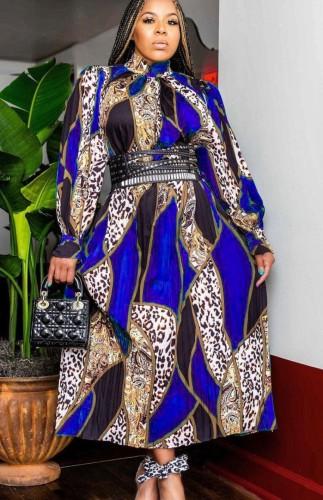 Herbst Leopard Print Rollkragen Reife Elegantes Langarm Skaterkleid