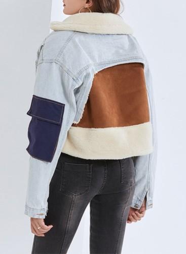 Winter Blue Denim Patch Turndown Collar Long Sleeve Fleece Jacket