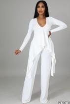 Autumn White Knit V-Neck Irregular Top and Pants Elegant 2 Piece Set