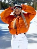Winter Orange Zipper Turtleneck Long Sleeve Down Coat