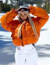 Winter Orange Reißverschluss Rollkragen Langarm Daunenmantel