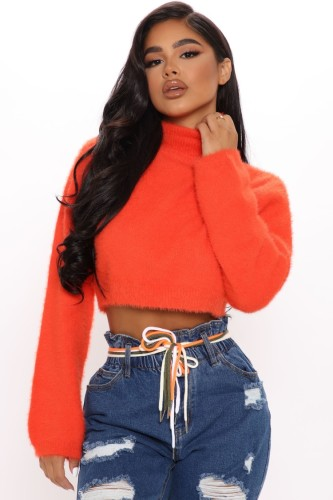 Winter Orange Knit Turtleneck Long Sleeve Pullover Crop Top