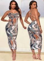 Yaz Partisi Seksi Çok Renkli Baskı Çapraz Sırt Askılı Uzun Bodycon Elbise