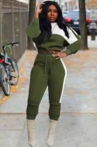 Winter Contrast Color Crop Top and Pants 2 Piece Sweatsuit