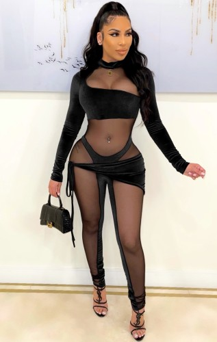 Fall Sexy Black Velvet Mesh Patch long Sleeve Tight Jumpsuit