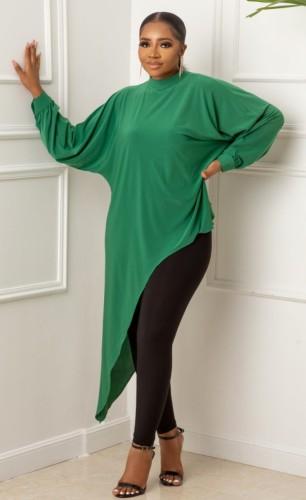 Fall Plus Size Green Long Sleeve Irregular Dress And Pant Two Piece Set
