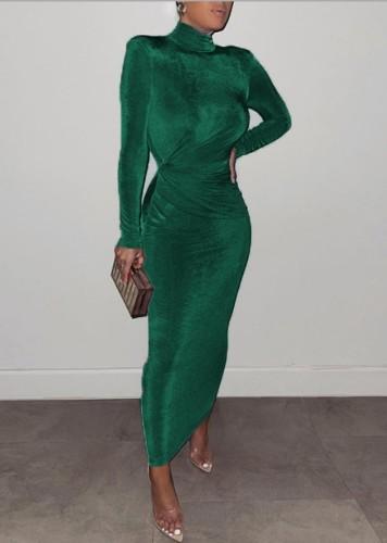 Winter Elegant Green High Neck Long Sleeve Long Maxi Dress
