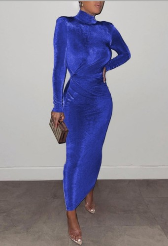 Winter Elegant Blue High Neck Long Sleeve Long Maxi Dress