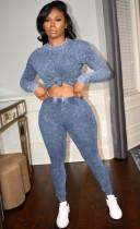 Herbst lässiges blaues Langarmhemd und enge Hosen Set