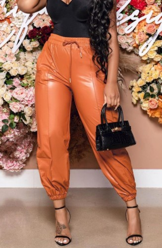 Fall Sexy Orange PU Leather High Waist Drawstring Pants