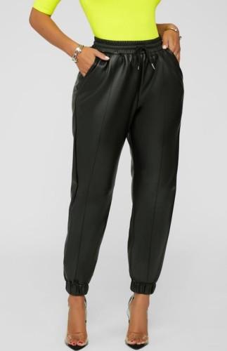 Fall Sexy Black PU Leather High Waist Drawstring Pants