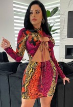Herbst Sexy Multi Color Snake Printed Lace-up Aushöhlen Langarm Bodycon Kleid
