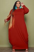 Herbst Plus Size Casual Rot Langarm Loses Kleid
