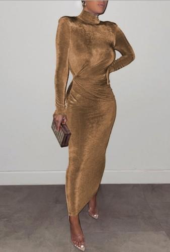 Winter Elegant Golden High Neck Long Sleeve Long Maxi Dress
