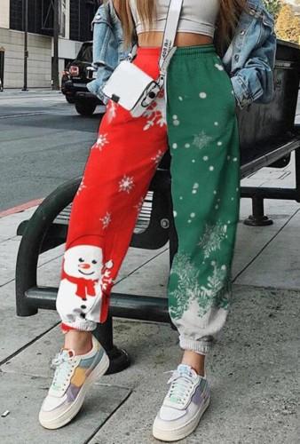 Winter Christmas Print Red And Green Jogger Pants