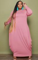 Herbst Plus Size Casual Rosa Langarm Loses Kleid