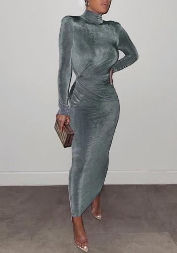 Winter Elegant Grey High Neck Long Sleeve Long Maxi Dress
