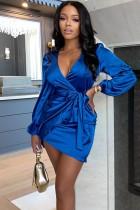 Herbst Sexy Blau V-Ausschnitt Satin Langarm Mit Gürtel Minikleid