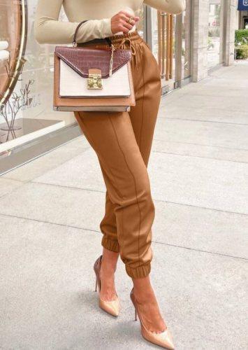 Fall Sexy Brown PU Leather High Waist Drawstring Pants
