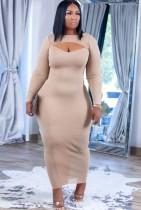 Herbst Sexy Apricot Keyhole Durchsichtiges langes Kleid