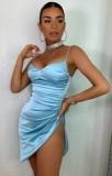 Sommer Sexy Blue Straps Minikleid mit Schlitz