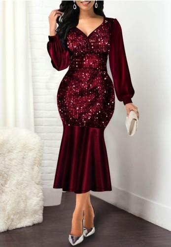 Herbst Elegantes Rotes Pailletten V-Ausschnitt Langarm Meerjungfrau Kleid