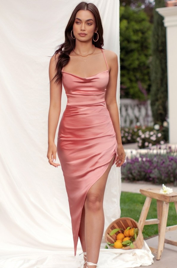 Summer Sexy Peach Satin Straps Irregular Slit Long Dress
