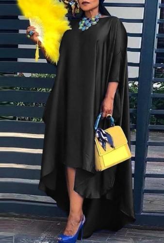 Fall Plus Size Sexy Black Half Sleeve Irregular Loose Dress