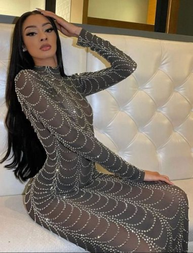 Herbst Sexy Silber Perlen Durchsichtig Langes Partykleid