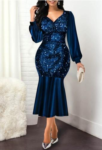 Herbst Elegantes Blaues Pailletten V-Ausschnitt Langarm Meerjungfrau Kleid