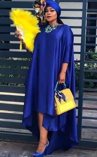 Fall Plus Size Sexy Blue Half Sleeve Irregular Loose Dress