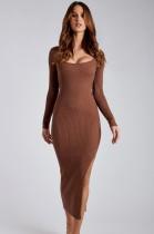Herbst Sexy Brown Rib U-Ausschnitt Langarm Schlitz Langes Kleid