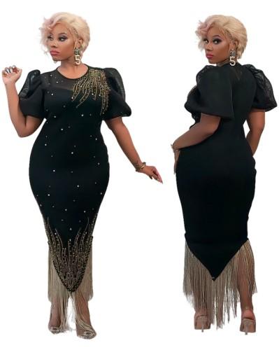 Fall Elegant Black Beaded Puff Short Sleeve Tassels Party Dress